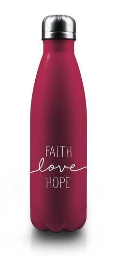 """Isolierflasche """"Faith-Love-Hope"""" - beerenrot"""
